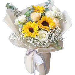 3朵向日葵6朵玫瑰,分分都幸福