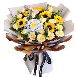 18朵香槟玫瑰向日葵绣球花,祝福送给最尊敬的人