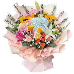 向日葵玫瑰绣球花,你是我最尊敬的人