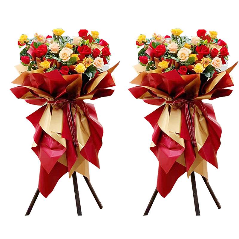 30朵玫瑰三脚架开业花篮,门迎晓日财源
