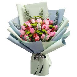 20朵戴安娜粉玫瑰,牵手一生不分离