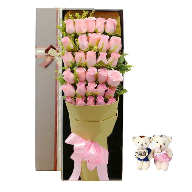 30朵戴安娜粉玫瑰礼盒,牵你的手走一辈子