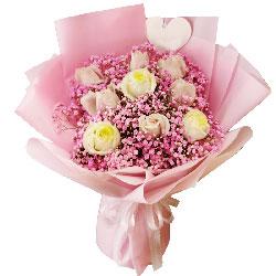 9朵玫瑰满天星,天天记在你心里