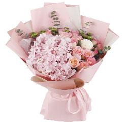 14朵戴安娜玫瑰绣球花,真爱你一生一世