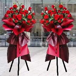 29朵红玫瑰开业花篮,洋溢的喜气