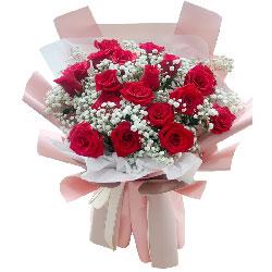 19朵红玫瑰满天星,爱一路珍藏