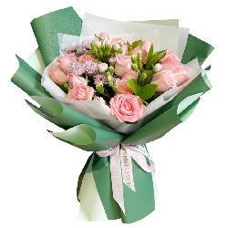 16朵戴安娜粉玫瑰,拥你入怀