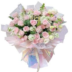 21朵戴安娜粉玫瑰康乃馨,每一天充满爱与温馨