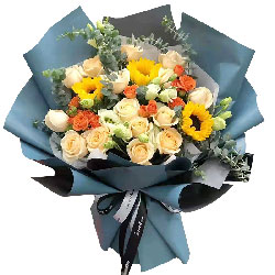 19朵香槟玫瑰3朵向日葵,人生的彼岸