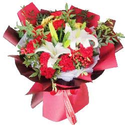 16朵红色康乃馨百合,恩情永远