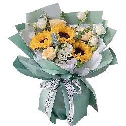 3朵向日葵3朵香槟玫瑰,实现梦想