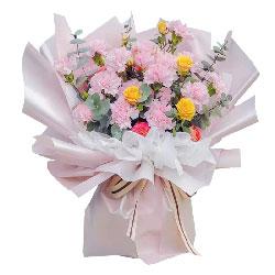 19朵粉色康乃馨玫瑰,温暖您的心