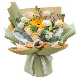 6朵香槟玫瑰向日葵,最美丽的你