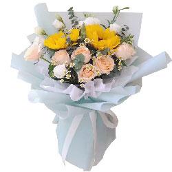 6朵香槟玫瑰向日葵桔梗,称心如意