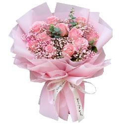 11朵戴安娜粉玫瑰,有你人生更加多彩